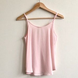 Lush Tops - # Lush Flowy Faux Wrap Tank Top Cami - Pink - S